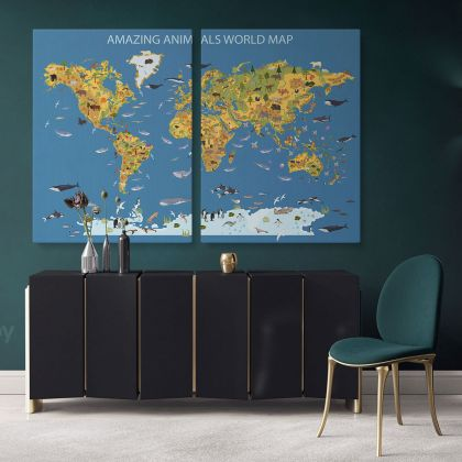 Amazing Animal World Map Canvas Kids Nursery World Animals Gift Living Room Home Decor For Wall Hanging