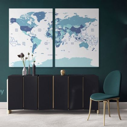 Detailed Official World Map Atlas Geography Political Canvas Print In Different Sizes Bedroom Living Room Artwork For Home Decor