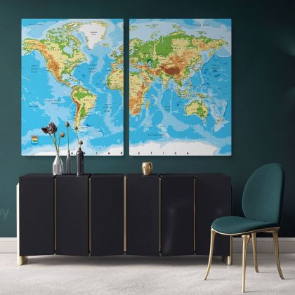 Blue Ocean Giant World Map Atlas Geography Political Canvas Print In Different Sizes Bedroom Living Room For Canvas Home Gift Map Mural Map