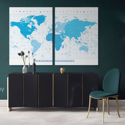 World Map With Different Colored Continents In Colors Of Blue Highly Detailed Political World Map And Navigation Icons Atlas For Artwork Print