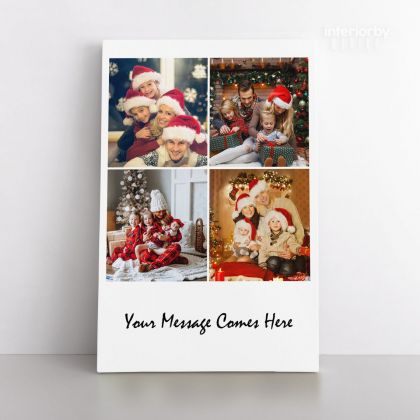 Christmas Gift Personalised 4 Images Collage Canvas Different Sizes Custom Photo Frame