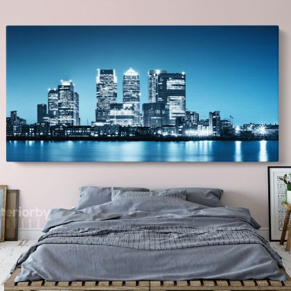 Docklands Canary Wharf Skyline Wallpaper Wall Art Panoramic Canvas With Frame / Roll Wall Hangings Living Room Bedroom Mural Gift