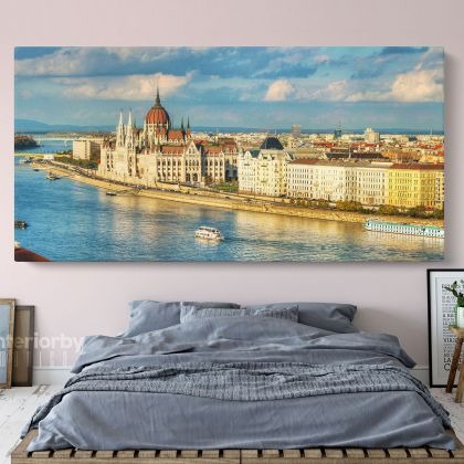 Panoramic Hungarian Parliament Building Canvas with Frame/Roll Wall Hanging Mural Gift Living Room Bedroom Wall Art Canvas Print