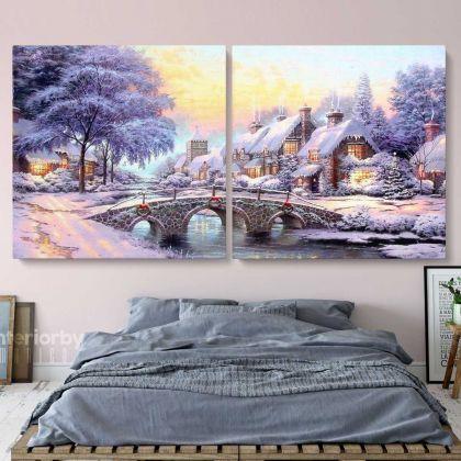 Vintage Winter Christmas Village Scene Holiday Decor Wall Art Print Painting Framed Canvas