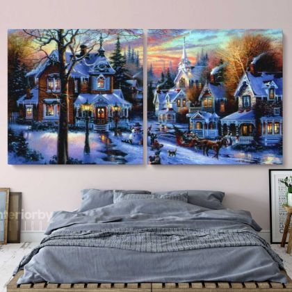 Panoramic Vintage Winter Christmas Village Scene Holiday Decor Framed Canvas