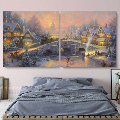 Winter Christmas Vintage Village Scene Holiday Decors On Framed Canvas
