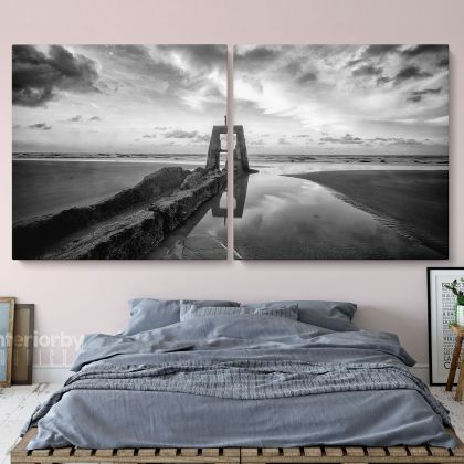 Panoramic Black and White Photography Canvas Wall Art