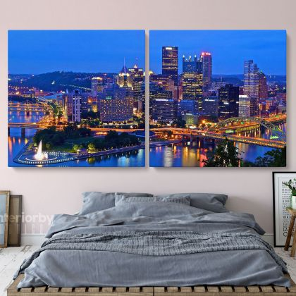 Panoramic Canvas Pittsburgh City Night View Canvas Pittsburgh Wall Art