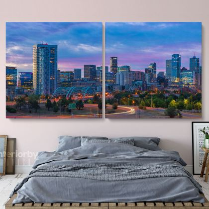 Denver City Skyline Sunrise Canvas with Frame Rolled Canvas Wall Murals