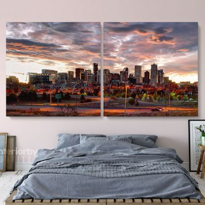 Denver City Skyline Sunset Canvas with Frame Rolled Canvas Wall Mural