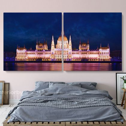 Panoramic Fishermans Bastion Fortress in Budapest Hungary Canvas with Frame