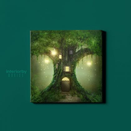 Enchanted Dark Forest Tree of Life Fantasy Wall Art Canvas with Frame