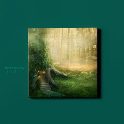 Fantasy Tree House Sunlight Wall Art Canvas with Frame