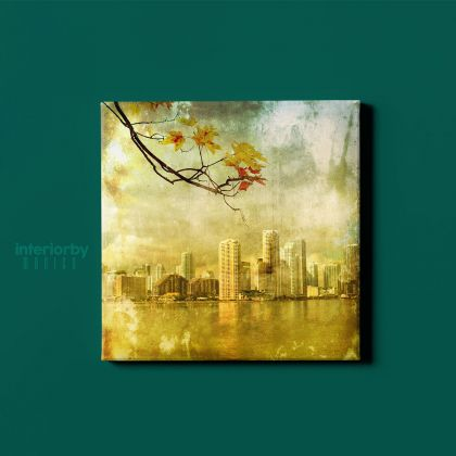 New York Los Angeles Miami Grunge City Maple Leaf Canvas