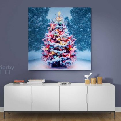 Christmas Tree Gift Print Painting Poster Framed Canvas