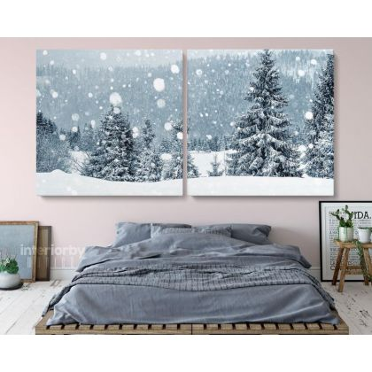 Panoramic Vintage Winter Christmas Village Snow Scene Holiday Framed Canvas