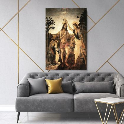 Baptism of Christ Painting by Leonardo Da Vinci Photo Print on Canvas with Frame Home Decoration Wall Mural Gift