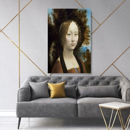 Lady with an Ermine Painting by Leonardo Da Vinci Photo Print on Canvas Home Decoration Living Room Wall Mural Hangings