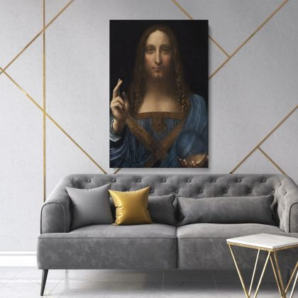 Famous Salvator Mundi Painting by Leonardo Da Vinci Photo Print on Canvas Home Decoration Living Room Wall Mural Hangings