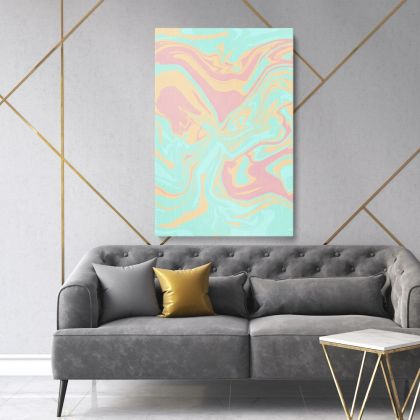 Modern Marble Painting Abstract Art Photo Print on Canvas with Frame Wall Mural
