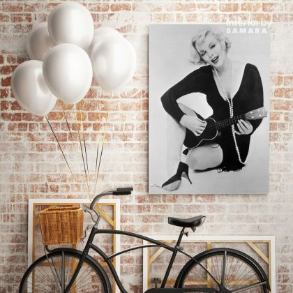 Black and White Canvas Marilyn Monroe Sexy Model Singer Nude Photo Poster Print on Canvas Frame Wall Mural