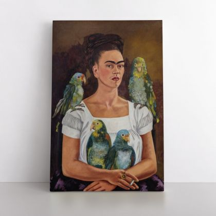 Frida Kahlo Self Portrait and Parrots Photo Print on Canvas, Wall Art Home Decor, Ready to Hang Canvas, Art, Home Decoration