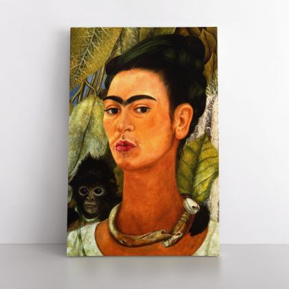 Frida Kahlo Self-portrait with the Monkey Photo Print on Canvas, Wall Art Home Decor, Ready to Hang Canvas, Art, Home Decoration