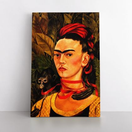 Self-portrait with the monkey Painting Photo Print on Canvas, Wall Art Home Decor, Ready to Hang Canvas, Art, Home Decoration