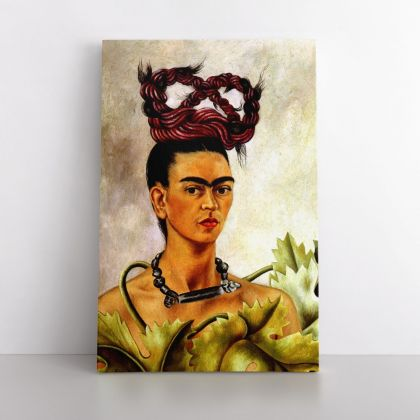 Frida Self-portrait with the Plait Painting Photo Print on Canvas, Wall Art Home Decor, Ready to Hang Canvas, Art, Home Decoration