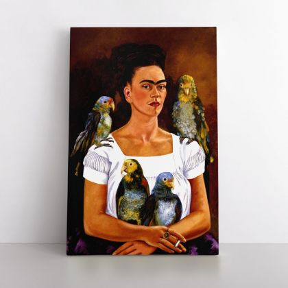 Frida Kahlo Self-portrait with my parrots Painting Photo Print on Canvas, Wall Art Home Decor, Ready to Hang Canvas, Art, Home Decoration