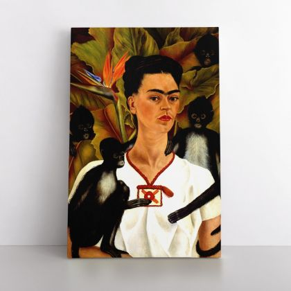 Self-portrait Frida Kahlo with the monkeys Painting Photo Print on Canvas, Wall Art Home Decor, Ready to Hang Canvas, Art, Home Decoration