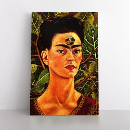 Frida Kahlo While Thinking of Death Painting Photo Print on Canvas, Wall Art Home Decor, Ready to Hang Canvas, Art, Home Decoration