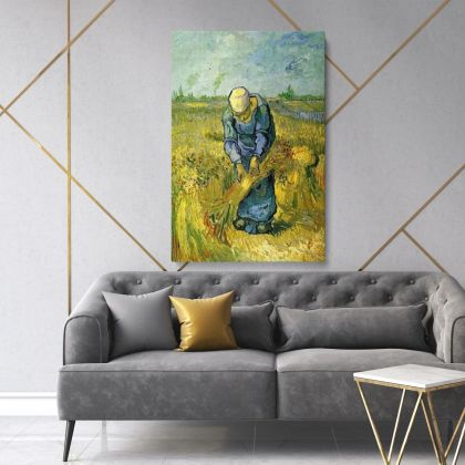 Vincent Van Gogh Painting Peasant Woman Binding Sheaves Painting Photo Print on Canvas Wall Mural