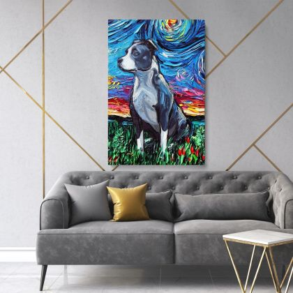 Vincent Van Gogh Painting Colorful Pitbull Artwork Abstract Painting Photo Print on Canvas Frame Wall Artwork