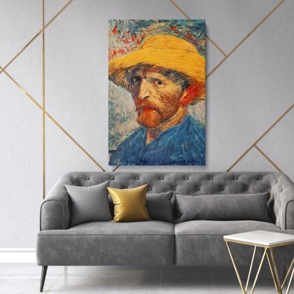Vincent Van Gogh Painting Self-Portrait with a Straw Hat Artwork Abstract Painting Photo Print on Canvas Wall Mural
