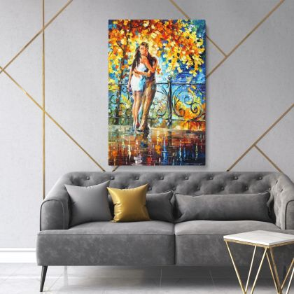 Autumn Hug Famous Oil Painting by Leonid Afremov Photo Print on Canvas with Frame Home Decor Wall Posters