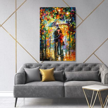 Kiss under the Rain Famous Palette Knife Art Oil Painting by Leonid Afremov Photo Print on Canvas Wall Mural