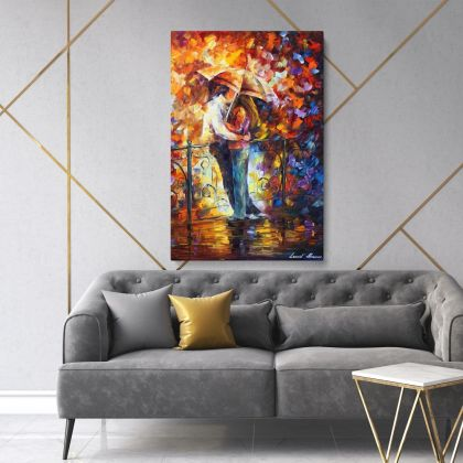 Couples in Love Famous Palette Knife Art Oil Painting by Leonid Afremov Photo Print on Canvas Wall Posters