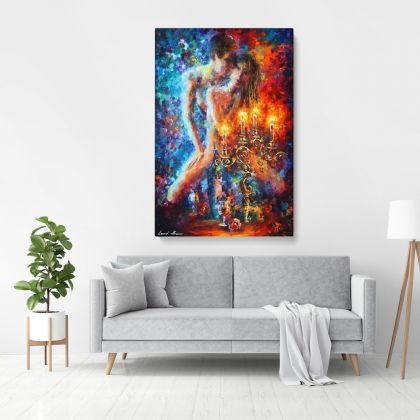 Palette Knife Art Candles of Love Oil Painting by Leonid Afremov Photo Print on Canvas Wall Mural Hanging Gift