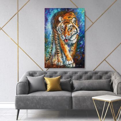 Tiger Palette Knife Oil Painting by Leonid Afremov Animal Photo Print Canvas with Frame Home Decor Wall Mural
