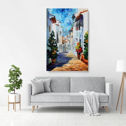 White Street Palette Knife Oil Painting by Leonid Afremov Photo Print on Canvas with Frame Wall Mural Hangings