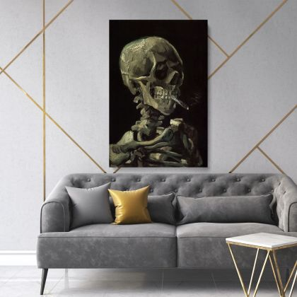 Vincent Van Gogh Painting Skull With Burning Cigarette Abstract Painting Photo Print on Canvas with Frame Wall Art