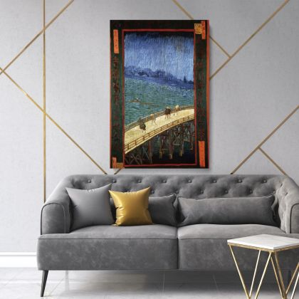 Vincent Van Gogh Japonaiserie The Brdige in the Rain After Hiroshige Abstract Painting Photo Print on Canvas Wall Art Mural