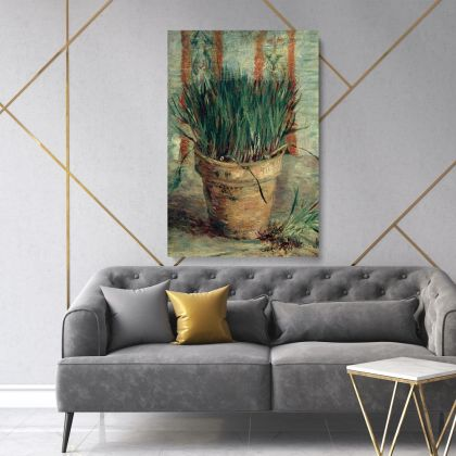 Vincent Van Gogh Painting Flower Pot with Chives Abstract Painting Photo Print on Canvas Wall Artwork