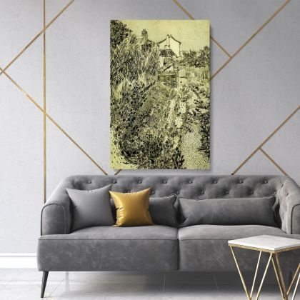 Vincent Van Gogh Painting The Garden with Flowers Abstract Painting Photo Print on Canvas Wall Art Mural