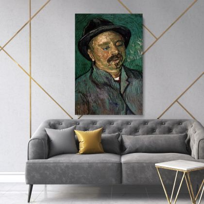 Vincent Van Gogh Painting Portrait Of A One-Eyed Man Abstract Painting Photo Print on Canvas with Frame Wall Mural