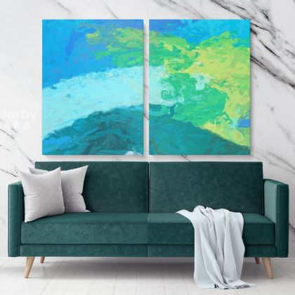 Blue Abstract Painting Photo Print on Canvas with Frame Artworks Wall Posters Hangings Canvas Gift