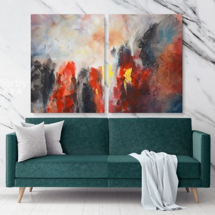 Abstract Art Painting Photo Print on Canvas with Frame Artworks Bedroom Decor Wall Mural Canvas