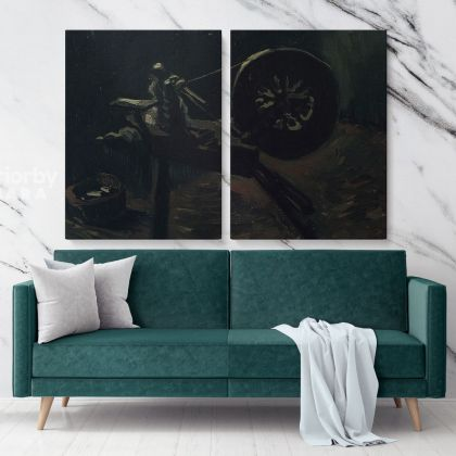 Spinning Wheel by Vincent Van Gogh Dutch Painter Bobbin Winder Original Painting Photo Print on Canvas Wall Artwork Decor