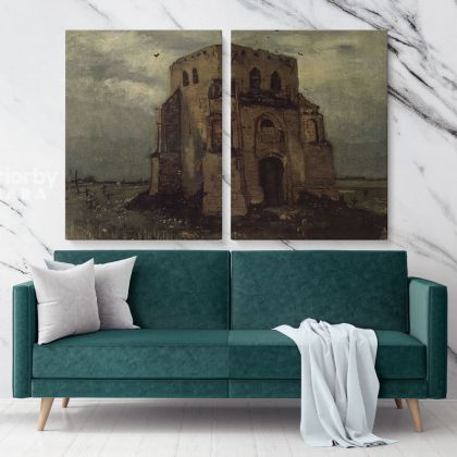Old Cemetery Church Tower at Nuenen by Vincent Van Gogh Dutch Painter Original Painting Canvas Photo Print Wall Art Mural